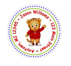 Daniel Tiger Return Address Label - Envelope Seals. $6.00, via Etsy.