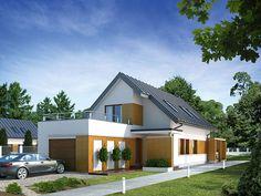 Niewielki dom jednorodzinny z garażem. Dom charakteryzuje nowoczesny i oryginalny wygląd. Najwiekszym atutem jest optymalne wykorzystanie przestrzeni. http://www.domywstylu.pl/projekt-domu-ametyst.php