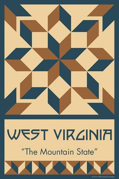 WEST VIRGINIA quilt block. Ready to sew. Single 4x6 block $4.95.
