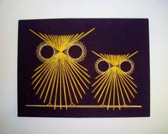 Vintage String Art Owls 1970's Black Gold Ivory Handmade