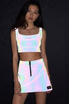 Shop Wasted Paris Petrol Reflective Mini Skirt at Urban Outfitters today. Edm Outfits, Neon Party Outfits, Skirt Outfits, Outfits For Teens, Stylish Outfits, Fashion Outfits, Festival Mode, Festival Outfits, Festival Fashion