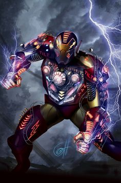 Gotta love this concept series of fantastical iron man armors. This one is particularly shocking, what with the mad lightning effects! -Elegant Armor #art #concept #ironman #marvel #comic #itcouldhappen IRON MAN BY DESIGN by Greg Horn