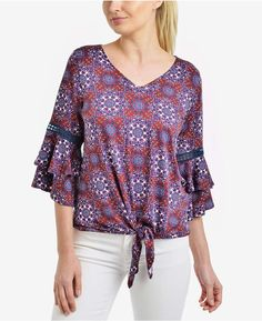 b992530e93f NY Collection Printed Tiered Bell-Sleeve Top Ny Collection, Front Tie Top,  Retro