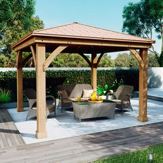 Wood Gazebo with Aluminum Roof by Yardistry. Expand your outdoor living space with this beautiful Wood Gazebo with Aluminum Roof by Yardistry. The stunning design features a Montana bronze aluminum roof, 6 in. Backyard Pavilion, Backyard Gazebo, Garden Gazebo, Pergola Patio, Backyard Landscaping, Backyard Ideas, Cozy Backyard, Landscaping Ideas, Patio Ideas