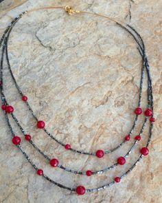 Collar Red Àgata i Hematite.