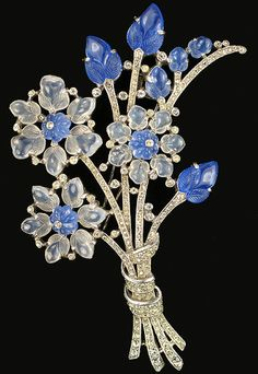 Trifari Philippe Blue & White Moonstone Fruit Salads Giant Floral Spray Pin