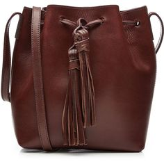 Closed Leather Bucket Bag (875 ILS) ❤ liked on Polyvore featuring bags, handbags, shoulder bags, bucket bags, brown, bucket bags handbags, brown purse, bucket bag, leather shoulder handbags and bucket bag purse