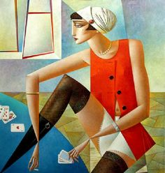 The Queen Of Spades. Geometrical painting by Georgy Kurasov