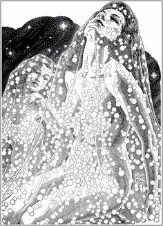 Virgil Finlay, detail of Veiled beauties. An interior illo from an astrology magazine. Art Illustration Vintage, Black And White Illustration, Science Fiction, Dark Drawings, Comic Manga, Interior Sketch, Interior Doors, Art Deco, Pulp Art