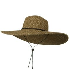 Womens Floppy Wide Brim Packable Sun Hat Two Tone Brown with Chin Strap   Brim Measures a Full Wide Headband Measures 7a9881228f9