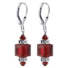 8 MM Faceted Garnet Swarovski Crystal Cube .925 Sterling Silver 0.9 inch Dangle Earrings