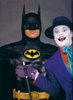 Promotional shots of Michael Keaton and Jack Nicholson for Batman (1989)