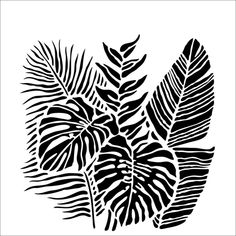 The Crafter's Workshop TROPICAL FRONDS 6x6 Stencil tcw920s Stencils Printables, Drawings, Printable Stencil Patterns, Abstract Artwork, Tropical Design, Artwork, Plant Tattoo, Leaf Stencil, Abstract