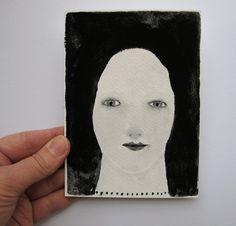 dreamer girl - original gouache portrait - painting. 20.00, via Etsy. 10.5x14