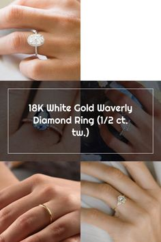 This sparkling halo setting features beautiful scalloped pavé diamonds that encircle the center gem and adorn the band. Available in 18K White Gold. Wedding Rings Teardrop, Halo Setting, Diamonds, Sparkle, White Gold, Gems, Band, Beautiful, Jewelry