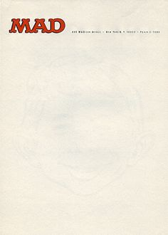 Letterhead from the offices of Mad during the reign of Al Feldstein. Notice the faint watermark of Alfred E. Neuman's face.  Previously: Mad letterhead from 1955.  Mad Magazine, c.1980   Submitted by Christopher Lading