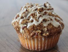 Coffee Cake Muffins with Salted Maple Glaze.