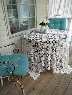 Large Tablecloths, Floral Tablecloth, Crochet Tablecloth, Vintage Tablecloths, Window Hanging, Hanging Plants, Vintage Curtains, White Wicker, Dog Ornaments