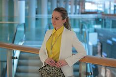 Love my bright yellow blouse . Yellow Blouse, Bright Yellow, Blazer, Jackets, Collection, Jeans, Women, Fashion, Down Jackets