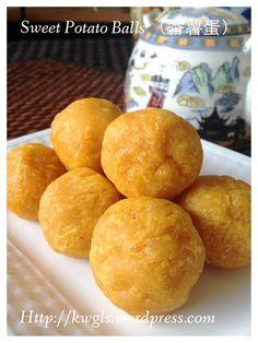 Sweet Potatoes Balls (Cucur Badak or 番薯蛋) Asian Desserts, Asian Recipes, My Recipes, Real Food Recipes, Dessert Recipes, Chinese Desserts, Malaysian Cuisine, Malaysian Food, Vegetarian Sweets