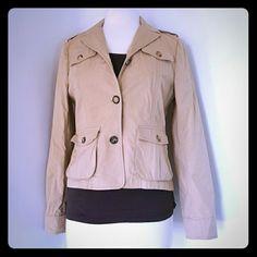 Tan blazer Long sleeve blazer. 2 button up. Sash holders on shoulders both sides. Theory Jackets & Coats Blazers