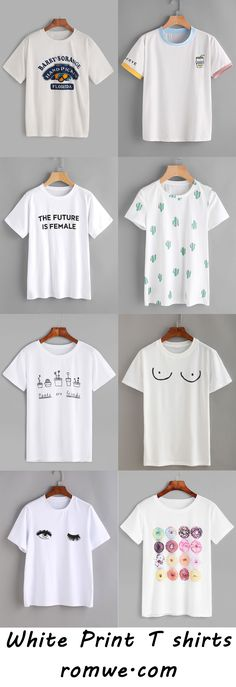 White Print T shirts - romwe.com