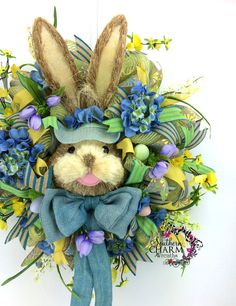 Deco Mesh Easter Bunny Wreath in Blue & by SouthernCharmWreaths