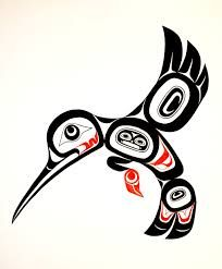 hummingbird type totem art, with person inside Inuit Kunst, Arte Inuit, Arte Haida, Haida Art, Inuit Art, Native American Symbols, Native American Design, Native Design, American Indian Art