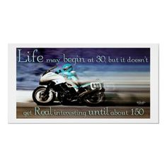 Life Begins at 30 Motorcycle Poster by SalonOfArt