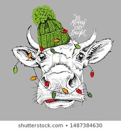 Portfolio, Cattle, Illustration, Knitted Hats, Rooster, Badge, Cow, Moose Art, Abstract