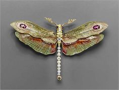 Dragonfly pendant-brooch, 1904. Philippe Wolfers (Belgian, 1858–1929). Platinum, gold, enamel, diamond, ruby, and pearl.