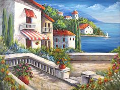 """Whitewashed Houses And Red Tiled Roofs On The """"Coast Of Capri"""" Await You And Me ~Original Fine Art Painting~ by DianeTrierweiler"""