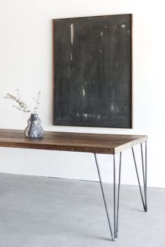 Materials: Mixed Reclaimed Hardwoods, Sustainably Grown Hardwoods, Industrial Steel Process: This Dining Table is Custom Made in Los Angeles. Metal Work Bench, Table Furniture, Furniture Design, Welding Table Diy, Welding Torch, Metal Welding, Plumbing Pipe Furniture, Table Frame, Table Accessories