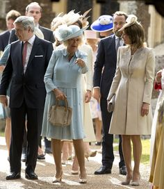 Kate's father Michael Middleton with Camilla, his son James and wife Carole as they left the service this afternoon