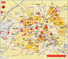 Map Of Paris Capital City Of France - highlighting tourist attractions