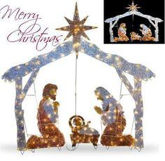 """Christmas Outdoor Nativity Scene 72"""" Crystal Yard Holiday LED Light  Decoration #TheHolidayAisle"""