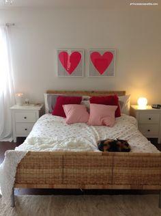 My Girly Bedroom :) | IKEA Hemnes nightstands, Emelina Knopp duvet cover, Banquet Atelier neon pink heart prints