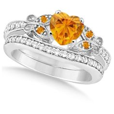 Butterfly Genuine Citrine Diamond Heart Bridal Set 14k W Gold 1.55ct ❤ liked on Polyvore featuring jewelry, rings, gold ring, bridal rings, yellow gold rings, heart shaped diamond ring and heart ring