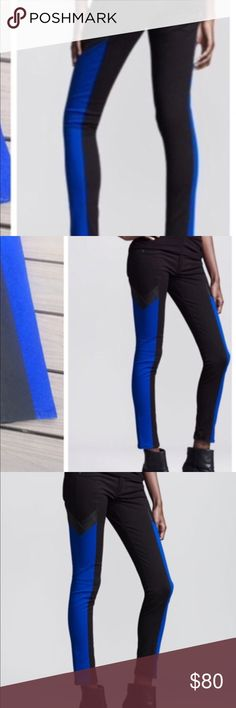 """Rag and bone jean Rag and bone Grand Prix jeans in black and royal blue this is a celebrity Jeans sold exclusive to Neiman Marcus size 26 like new worn twice inseam 28"""" rag & bone Jeans Ankle & Cropped"""