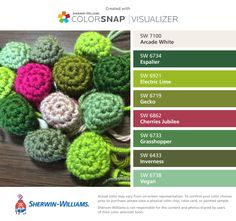 I found these colors with ColorSnap® Visualizer for iPhone by Sherwin-Williams: Arcade White (SW 7100), Espalier (SW 6734), Electric Lime (SW 6921), Gecko (SW 6719), Cherries Jubilee (SW 6862), Grasshopper (SW 6733), Inverness (SW 6433), Vegan (SW 6738).