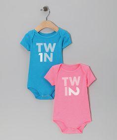 Blue & Pink 'Twin 1' & 'Twin 2' Bodysuit Set. Zulily.com