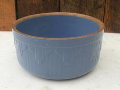 Antique Blue Yelloware Butter Crock Salt Crock Ruckels Pottery.