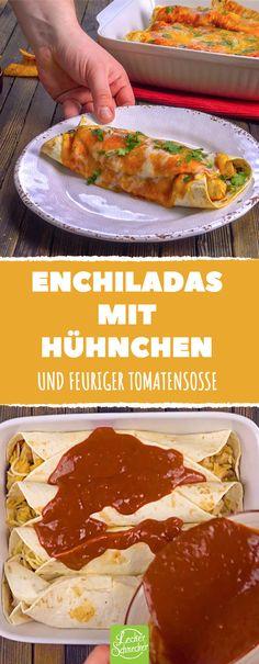 Diese Enchiladas mit Hähnchen bedeuten pures, überbackenes Glück! #rezept #rezepte #enchiladas #mexiko #chili #tortilla #hühnchen #hähnchen #tomate #soße #käse #bohnen #jalapenos