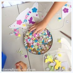 Princess Party craft idea-crowns with elastic to attach around head