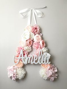 Personalized Nursery Letter/ Large floral Letters/ Floral Letter E/ Personalized Letter Art/ Flower Initial/ Baby Letter Floral/ Baby Shower by GingerFeast on Etsy Baby Letters, Flower Letters, Nursery Letters, Nursery Wall Decor, Flower Wall, Girl Nursery, Rosen Box, Floral Baby Shower, Diy Flowers