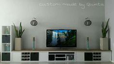 #Ikea #Kallax / #Expedit to #DIY TV stand. TV meubel. Kallax kasten van Ikea met steigerhout, ruimte voor consoles en apparatuur + wijnrekjes en veel opbergruimte.