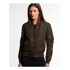 Superdry RSD Lite Pilot Bomber Jacket ($96) ❤ liked on Polyvore featuring outerwear, jackets, green, brown bomber jacket, light weight jacket, zipper jacket, diamond quilted flight jacket and embroidered bomber jacket