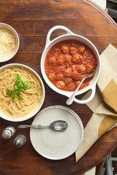 Slow Cooker Turkey Meatballs--When time is at a premium, these flavorful but hearty no-prep meatballs will fit the bill. The meatballs are cooked alongside your favorite pasta sauce and can be served with spaghetti, making this a family friendlydinner. My children especially love shredded mozzarella cheese on top of their meatballs and spaghetti.