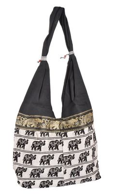 Reversible Bags – Indian Elephant New Soft Black Shoulder Tote Bags – a unique product by IndianCraftPalace on DaWanda