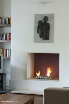 Classic Hole in the wall style fireplace with our bespoke handmade pebbles and l… – Home living color wall treatment kitchen design Fireplace Showroom, Fireplace Remodel, Build A Fireplace, Living Room With Fireplace, Fireplace Ideas, Contemporary Fireplace Designs, Modern Fireplaces, Home Renovation, Minimalist Fireplace